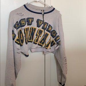 FURST OF A KIND- vintage college crop zip hoodie